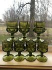 Vintage Green Wine Goblet Indiana Glass Kings Crown Thumb Print - Set of 7