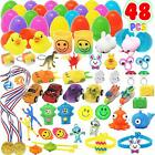 48 Pcs Prefilled Easter Eggs with Mini Novelty Toys for Easter Basket Stuffers