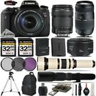 Canon EOS Rebel T6s DSLR Camera 760D + 18 135mm + 70 300mm Lens 64GB Kit Bundle