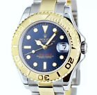 ROLEX - 18KT GOLD & Stainless MidSize YACHTMASTER Blue Dial - 168623 SANT BLANC