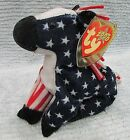 2000 TY Beanie Lefty Democrat Red White Blue Stars Stripes Donkey Toy FREE S/H
