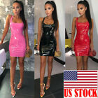 Sexy PU Leather Bandage Ladies Bodycon Sleeveless Club Party Short Mini Dress