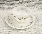 Te Crisa Old White Milk Glass Demitasse Cup and Saucer Green Ivy Leaves FREE S/H