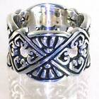 BALI DESIGNER SCALLOPED HEART MOTIF WIDE BAND RING SIZE 9 925 STERLING SILVER