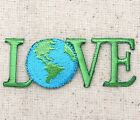 LOVE Ecology Planet Earth World Iron on Applique Embroidered Patch