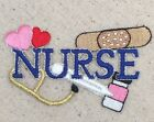 Blue Nurse Bandaid Heart Stethoscope Medical Iron on Applique Embroidered Patch