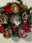 Christmas Holiday Wreath Religious Icons Decoration 16 Nativity Poinsettia