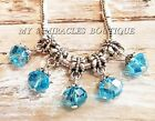 5 75 Blue Dangle Charms  Crystal Ice Ball Style  fits DIY Bracelets Necklaces