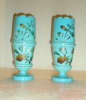 Vintage BRISTOL Glass Hand Painted Bee Dogwood Scalloped Gold Trim
