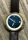 Vintage Gruen UFO Automatic, Gold Plated Oval Case, Blue Dial ~ Swiss Cal. 730