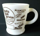 Vintage Hazel Atlas Milk Glass Advertising Pacific Yard Oregon Mug Coffee Cup