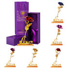 24K Gold Plated Rose Flower Decoration Mothers Day Girlfriend Romantic Gift