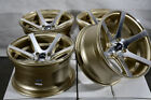 15 4x100 Gold Wheels Fits Toyota Corolla Honda Civic Cobalt Jetta Mr2 4 Lug Rims
