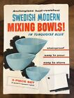 Fire King Turquoise Blue Swedish Modern Mixing Bowl Set Advertising Large Poster