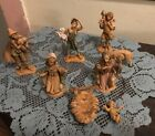 8 Pc Vintage Depose Italy Nativity Figures Holy Family 2 Shepherds Sheep Josiah