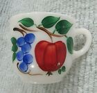 White 1950's Kitchen Glass Cup Hand Painted Gay Fad Fruit Apple Grape FREE S/H