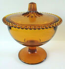 Indiana Amber Glass Beaded Edge Covered Bowl Footed Candy Dish with Lid Vintage