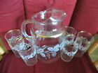Vintage Clear Glass Pitcher With Gold Trim And Etched Grape Pattern w 5 glasses