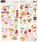 Pebbles Patio Party Summer Cardstock Scrapbooking Stickers Foil Accents Icon NEW