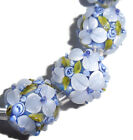 Lampwork Glass Flower Beads Raised Petals Blue 15 mm Round 4 Beads a33