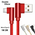 1M 2M 90 Elbow Strong L Shape Charger Charging Micro USB C Fast Data Sync Cable