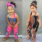 2PCS Toddler Kids Baby Girls Summer African Print Sleeveless Romper Jumpsuit Set