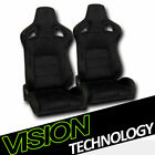 2x Jdm Mu Style Blk Suede Red Stitch Reclinable Racing Bucket Seats Wslider V26