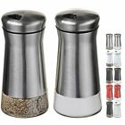 CHEFVANTAGE Salt and Pepper Shakers Set with Adjustable Holes Stainless Steel