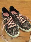 Keds 15 Girls Hello Kitty Casual Trainers Sneakers Black Pink Sequin