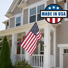 US American Flag Kit 3x5 ft 6 Foot Steel Pole Bracket Poly Cotton USA Set NEW