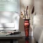 Embossed Square Vase Tall Metal Decorative Flower Floor Decor Red Gold NEW
