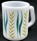 Vintage Federal Glass Milk Glass Mug Gold Wheat Teal Leaf Mid Century Modern