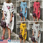 Women Boho Cotton Linen Maxi Dress Short Sleeve Casual Kaftan Tunic Plus Size US