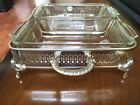 Double Glass Serving Dish in beautiful vintage Silver plated Stand