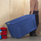 4 PACK Large 45 Gallon Wheeled Latch Tote Storage Box Container Sterilite Blue