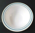Anchor Hocking Restaurant Ware Milk Glass with Turquoise Stripe Bowl 938