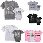 Big Little Sister Brother Matching Tops Baby Boy Girl Romper Bodysuit Outfits