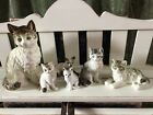 Vintage Ivory Cat Figured Lot Gorgeous Kitty Japan Stamp Ceramic Collection