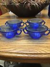 SET OF 4 COBALT BLUE GLASS SOUP ICE CREAM CEREAL BOWLS WITH HANDLES 475