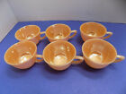 SIX (6) PEACH LUSTRE FIRE KING Miniature Cups Tea Party Size 1940s Vintage USA