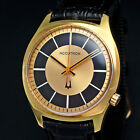 Vintage 1970 Bulova Accutron 218 18K Yellow Gold Plated Rare Black Dial Watch NR