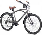 26 Mens Beach Cruiser Bicycle Comfort Seat Outdoor Bike Vintage Cycling Gray NEW
