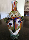 Vintage Original Italian Murano Art Glass Large 10 1 2 Tall Colorful Clown Vase