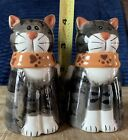 Vintage Twin Cats Gray Tabby Ceramic Salt Pepper Shakers