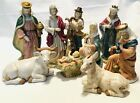 Nine Piece Nativity Set Hand Painted Porcelain Christmas Collectible