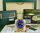 ROLEX 18kt Gold & Stainless Submariner Blue Dial BOX CARD TAGS 16613 SANT BLANC