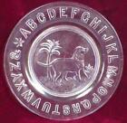 Dog ABC Plate Clear Glass Dog with Tree Ripley  Co EAPG 1880s Antique