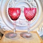 Bohemian Czech Ruby To Clear Cut Crystal Etched Roses Arches Wine Hock Glasses