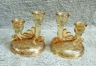 2 Jeannette Louisa Flora Gold Marigold Twin Candlesticks Candle Holders FREE S/H