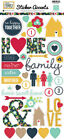 Echo Park Paper OUR FAMILY Scrapbook Cardstock Stickers Icons HEARTS HOME